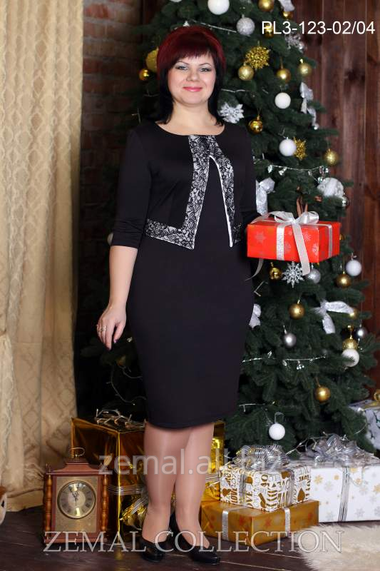 Knitted PL3-123 dress of the fitted silhouette with imitation of jacke