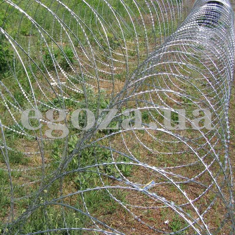 Концертина 900/7, СББ, Барьеры спиральные, спиральный барьер безопасности СББ Концертина диаметром 900 мм на семи скобах