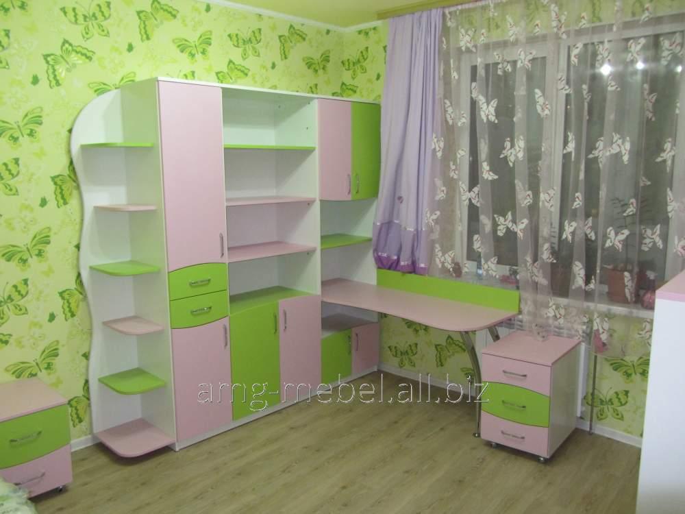 Купить Детский шкаф со столом зелено-розовый