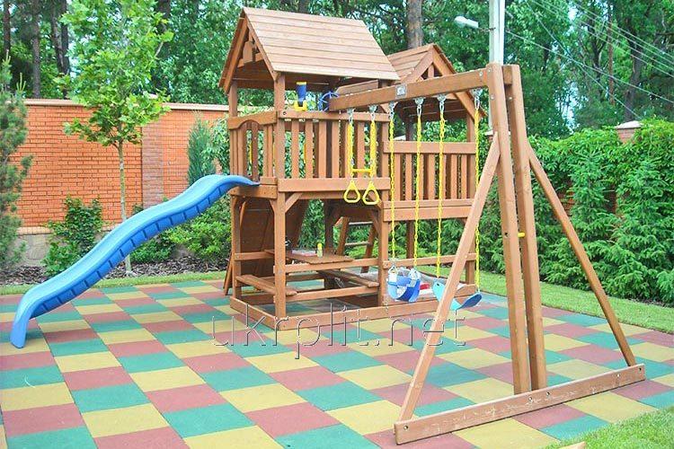 Резиновая плитка для травмобезпасной  детской площадки