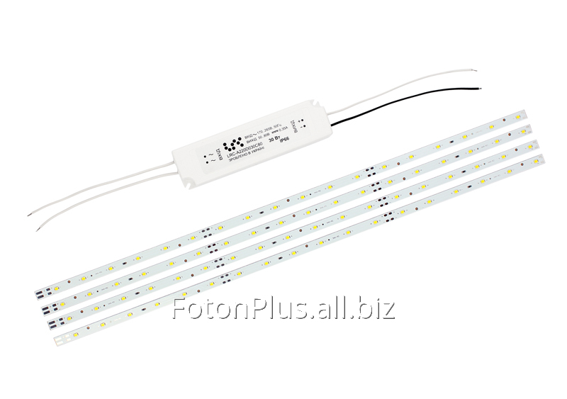 Комплект : 4 линейки на светодиодах Osram (18LED) и блок LRC 30Вт.