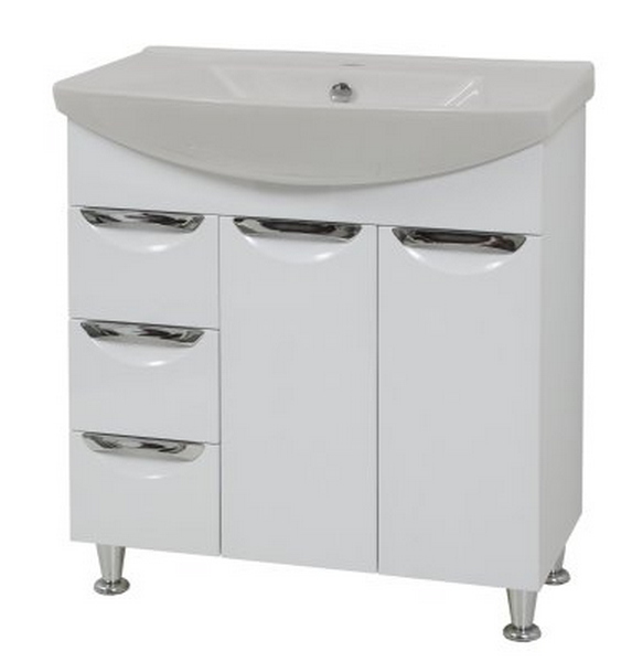 Buy Curbstone in bathing Laura-75 Vega-75, white with a wash basin