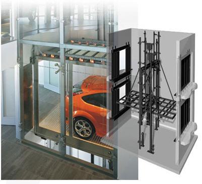 Hydraulic elevators with the machine room