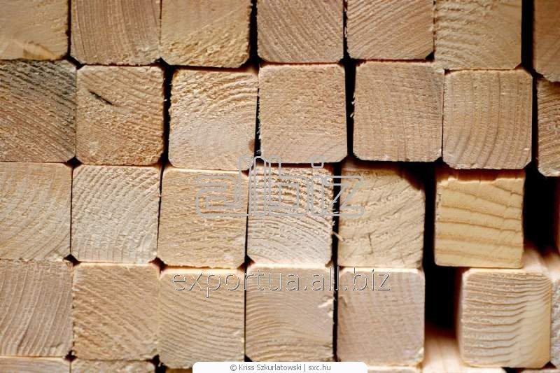 Брус естественной влажности, сосна или ель, возможна обработка антисептиком, возможна сушка, размер 50х50х(4000, 4500), на экспорт