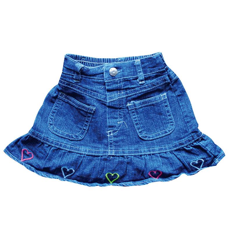Купить Джинсовая юбка с сердечками