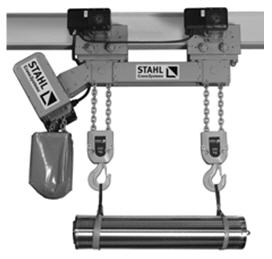 Buy Waists (telphers) chain two-hook, overall dimensions of roofing felts allow to use them for transportation of bodies of the car, pr-in STAHLCraneSystems (Germany)