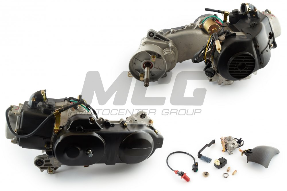 Engine 4T GY6 80cc 139QMB, short 10th wheel, Carburettor, switch, SL  ignition coil