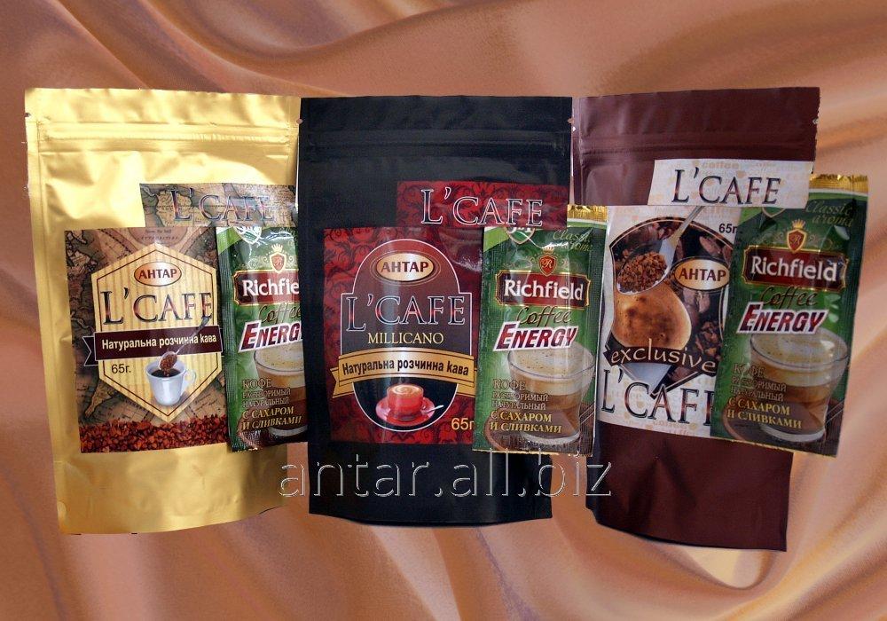 Растворимый кофе L'cafe 38 гр.  ігуацу,еквадор,кокам,бразильский