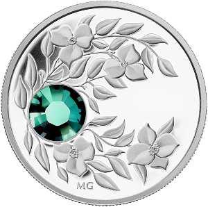 Монета с кристаллом Изумруд, серебро