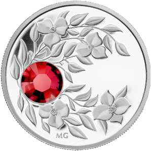 Монета с кристаллом Рубин, серебро