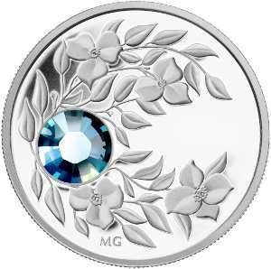 Монета с кристаллом цвета весенней свежести Аквамарин, серебро