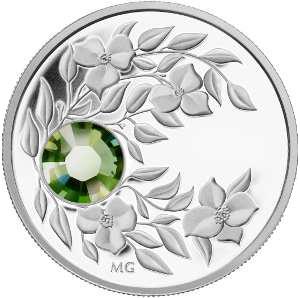 Монета с кристаллом цвета летней травы Перидот, серебро