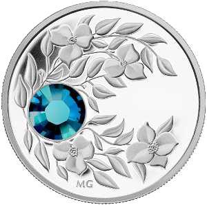 Монета с лазурным кристаллом Циркон, серебро