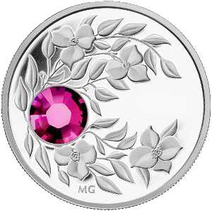 Монета с пурпурным кристаллом Гранат, серебро