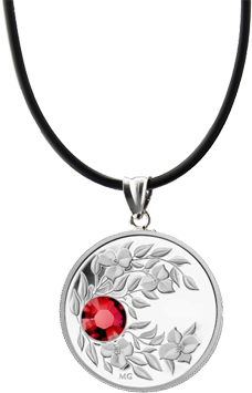 Монета-подвеска с кристаллом Рубин, серебро