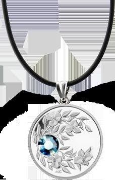 Монета-подвеска с кристаллом цвета весенней свежести Аквамарин