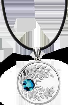 Монета-подвеска с лазурным кристаллом Циркон, серебро