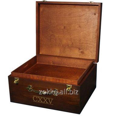 Упаковка для вина с металическими петлями и замком ,Ольха 10мм + МДФ шпонированный 3мм