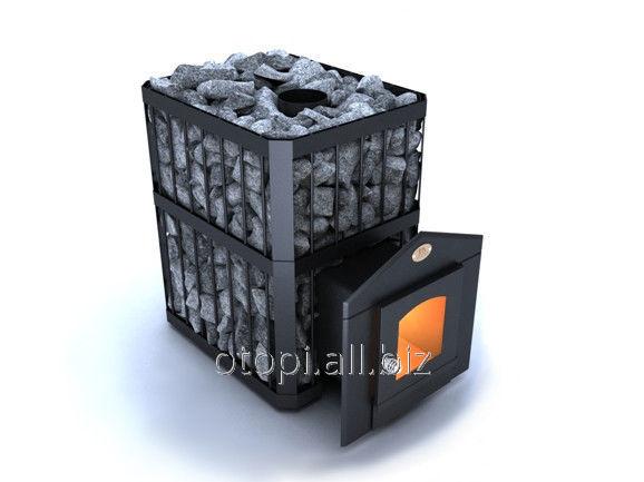 """Печь каменка для бани  """"Пруток"""" -ПКС-04 Дверца со стеклом топка хром 18%  серия """"Профи"""""""