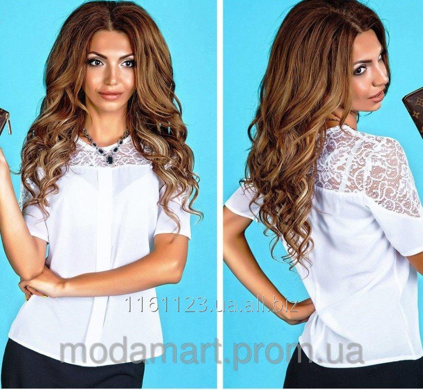208d11f204e Женская блузка белого цвета со вставками из гипюра Размеры S-M