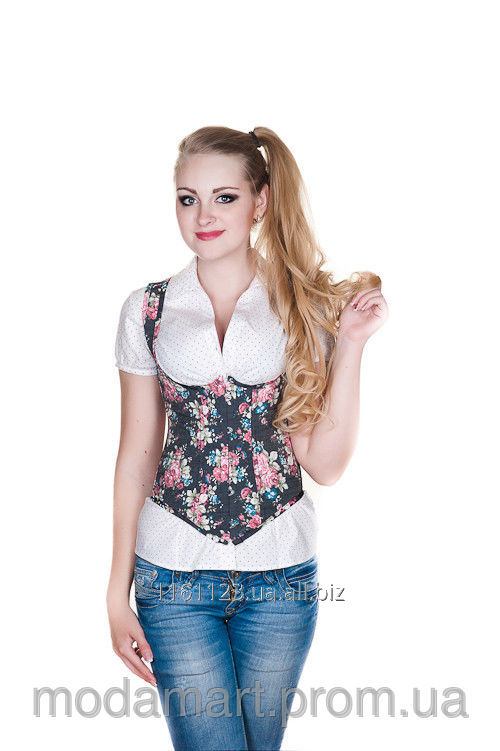 fa133b60f6 Female corset a Leaksa vest under a breast with a flower print of B1670