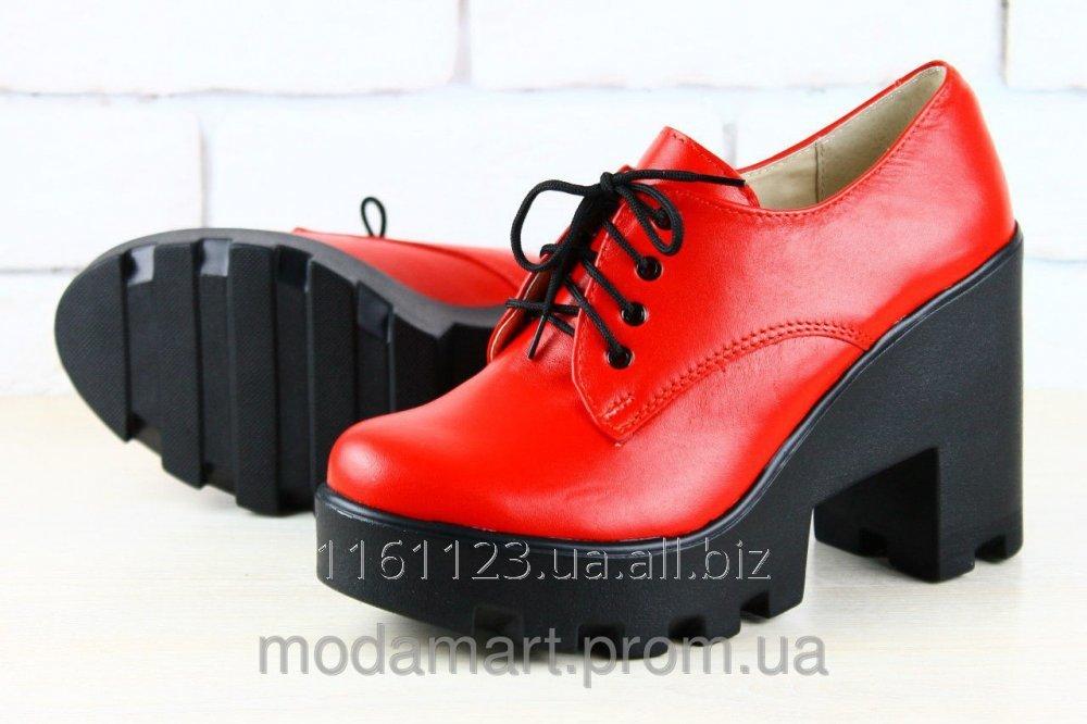 2ebfc4755 Женские туфли на высокой платформе шнуровка.Цвет красный.Состав натуральная  кожа. Размеры 36-40. YS 1987