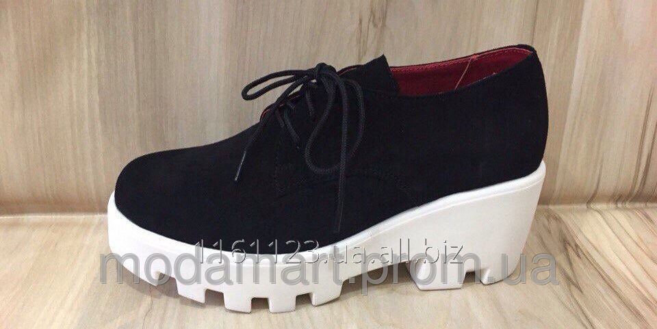 Купить Женские туфли на платформе, шнуровка. Натуральный замш. Цвет черный. Размер 36-40. YS 1880