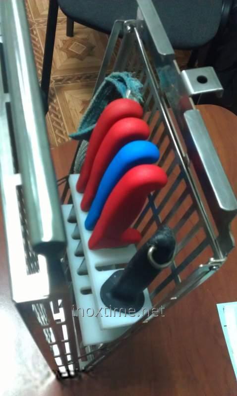 Boxing (basket) for sterilization of knives, musat and kolchuzhny gloves