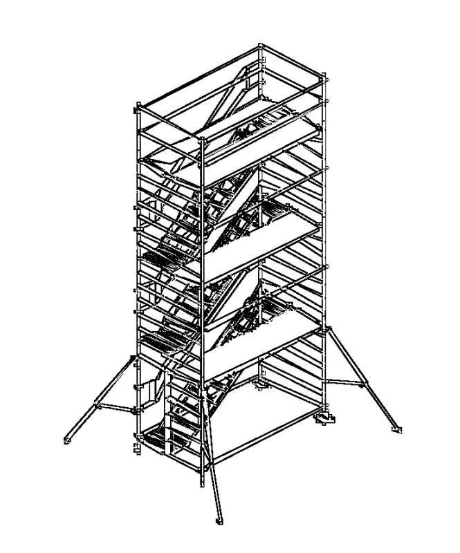 Купить Вышка-тура с лестницами параллельного направления ALTEC AluLight 820, ширина помоста 1,35м, длина помоста 2,5м, робочая высота 8,20м.