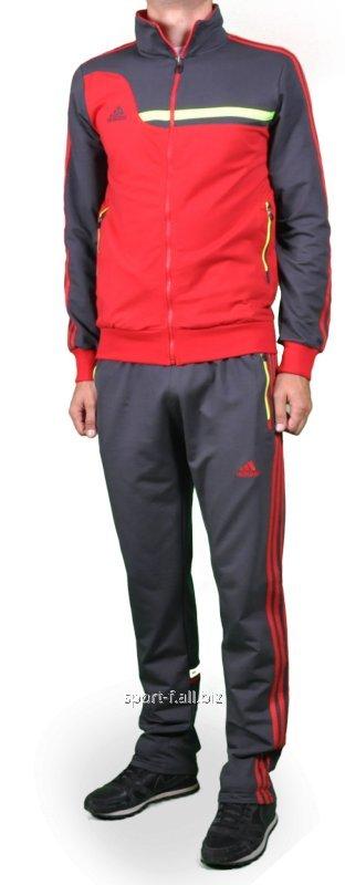 Спортивный костюм Adidas серый с красными полосами на штанах