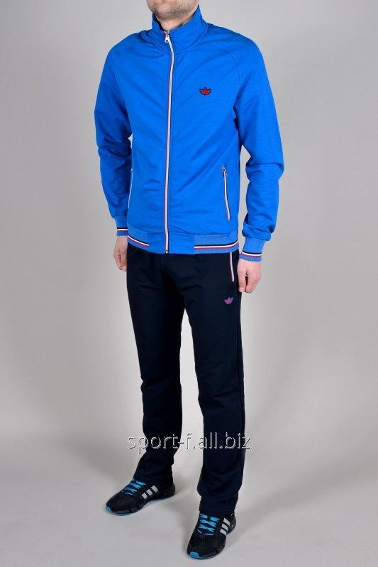 Спортивный костюм Adidas штаны синие с голубой мастеркой