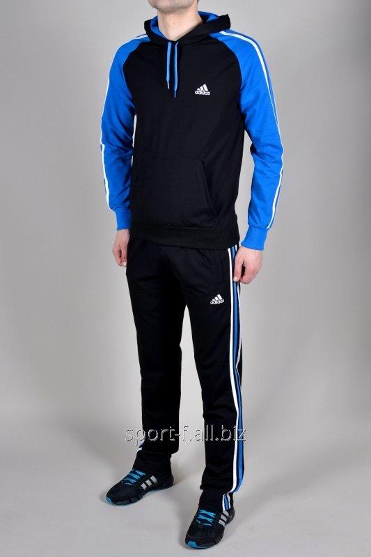 Спортивный костюм Adidas черный с голубыми рукавами