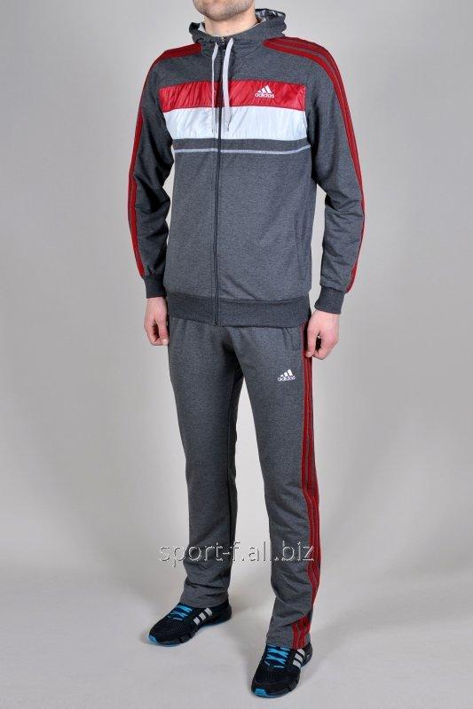 Купить Спортивный костюм Adidas серый с красно-белыми полосами
