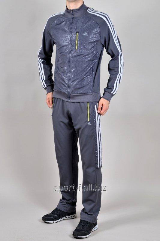 Купить Спортивный костюм Adidas серый с белыми полосами и рисунком на мастерке