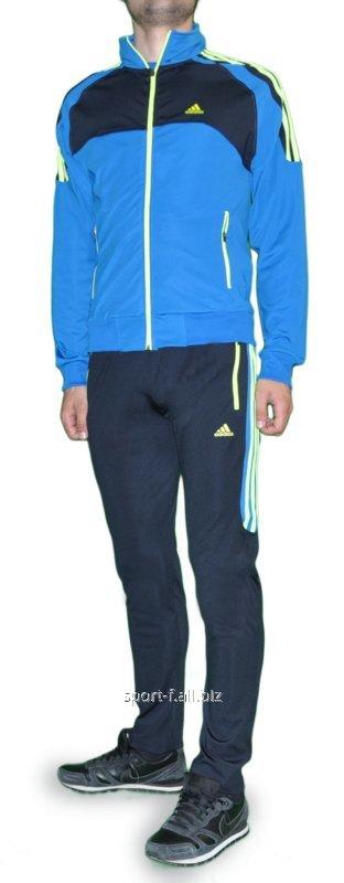 Купить Спортивный костюм Adidas мужской серые с голубой мастеркой
