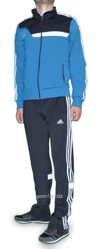 Купить Спортивный костюм Adidas мужской штаны серые с белыми полосами мастерка голубая
