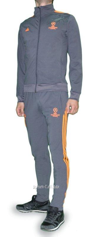 Спортивный костюм Adidas Лига чемпионов серый с оранжевыми полосами