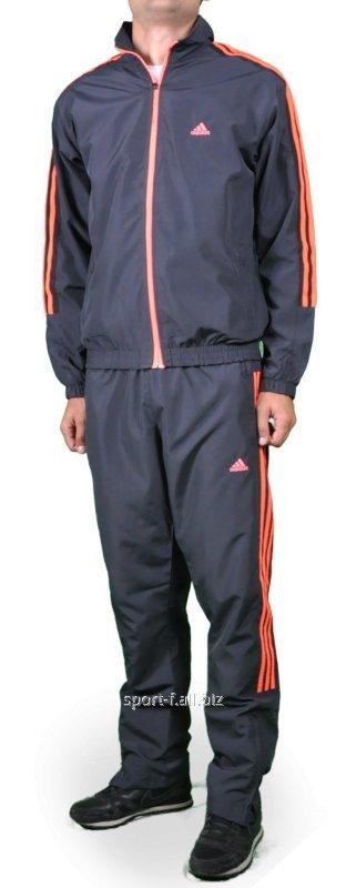 Спортивный костюм Adidas серый с красными полосами