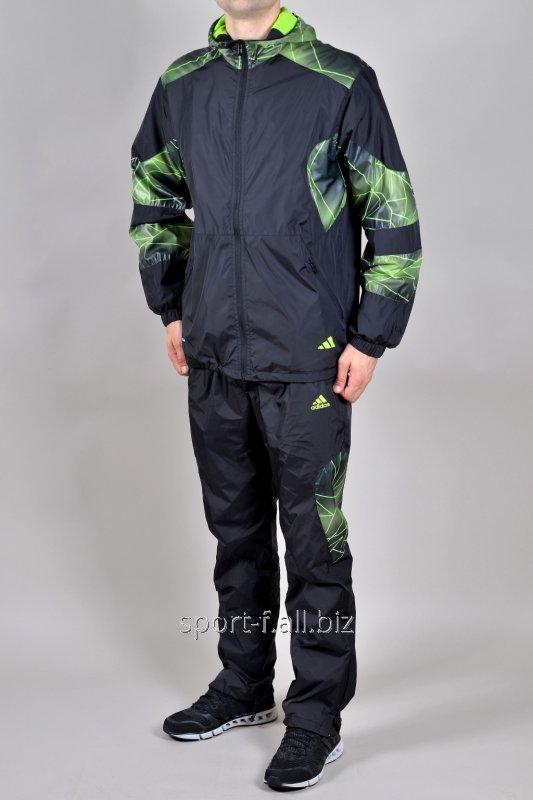Спортивный костюм Adidas черный с зеленым рисунком