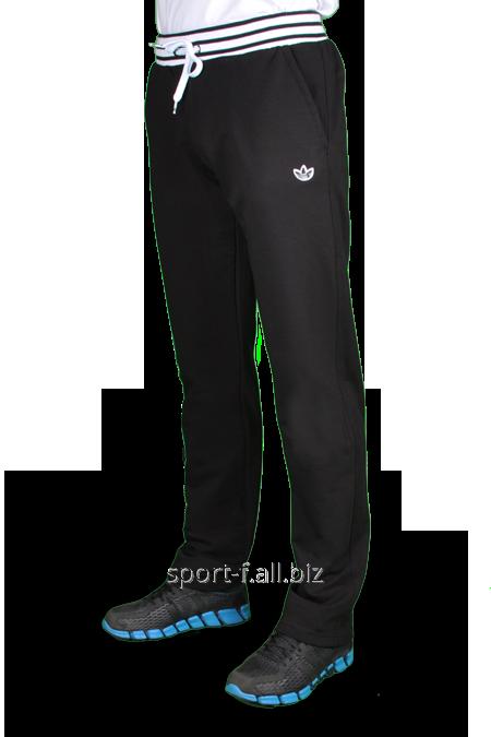 Брюки спортивные Adidas черный с белой резинкой