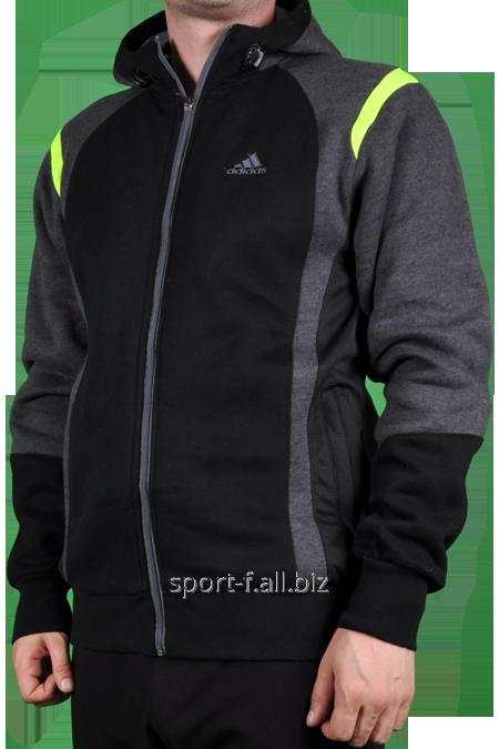 Мастерка Adidas зимняя черная с серым