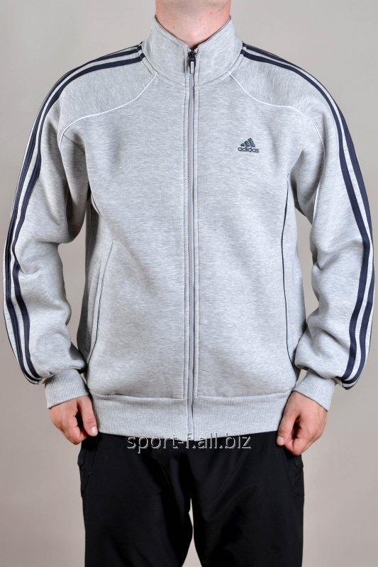 Мастерка Adidas мужская зимняя белая с черными полосами