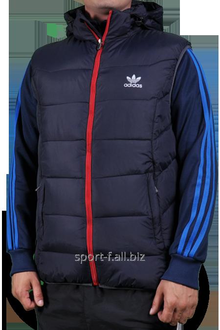 Жилет Adidas черный с красной молнией