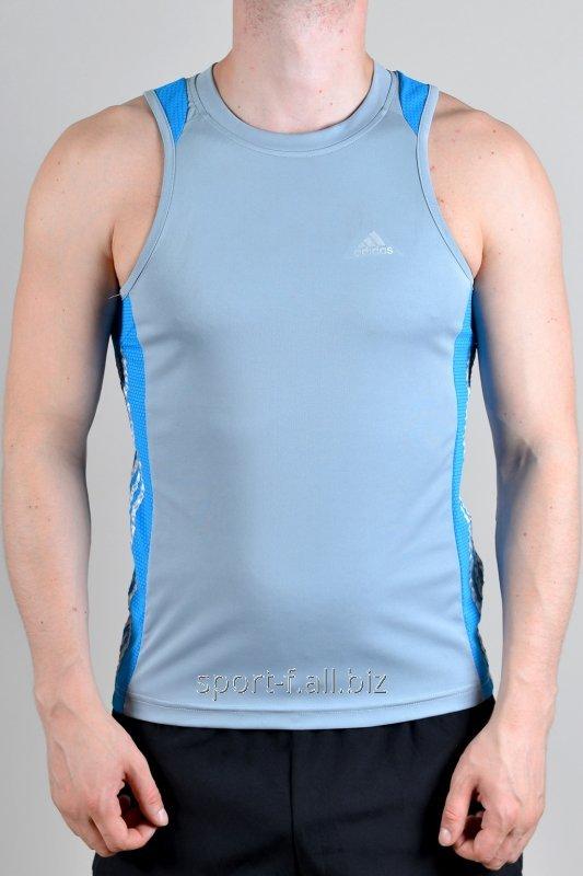 Майка Adidas мужская серая с голубыми полосами