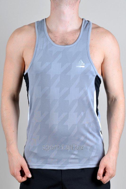 Майка Adidas мужская серая  с черными полосами