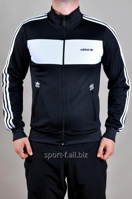 Мастерка Adidas мужская черная с белыми полосами