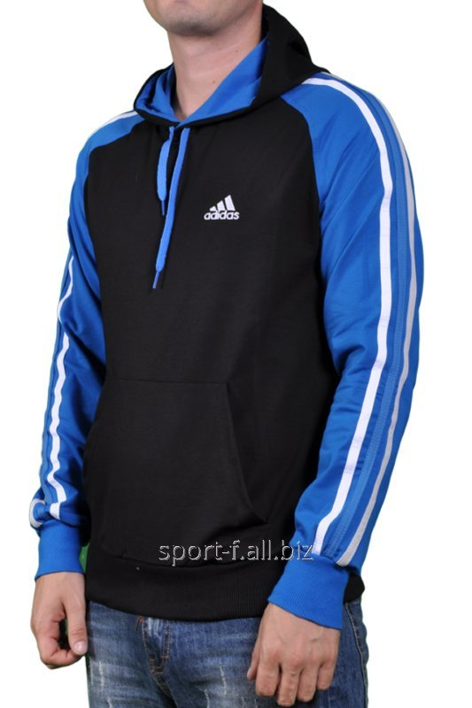 Мастерка Adidas черная с голубыми рукавами