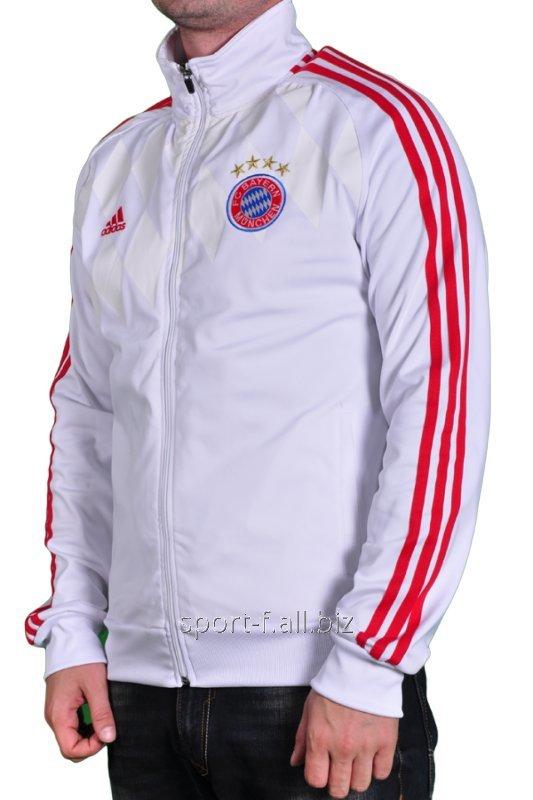 ecf0f7348d58 Мастерка Adidas Bayern München мужская белая с красными полосами ...