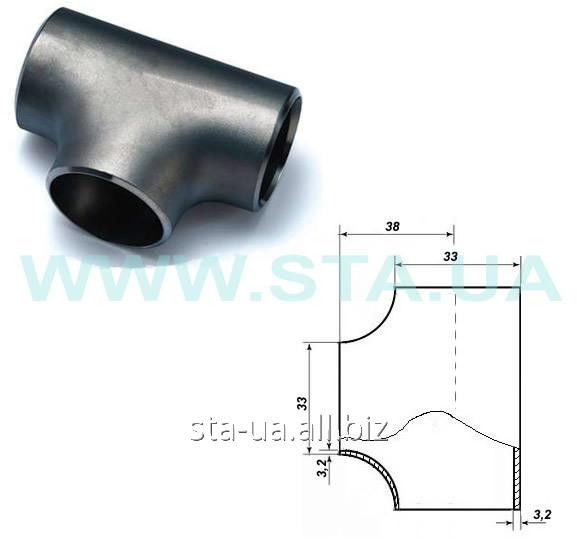 Тройник равнопроходный 33x3,2 мм ГОСТ 17376-2001 стальной приварной