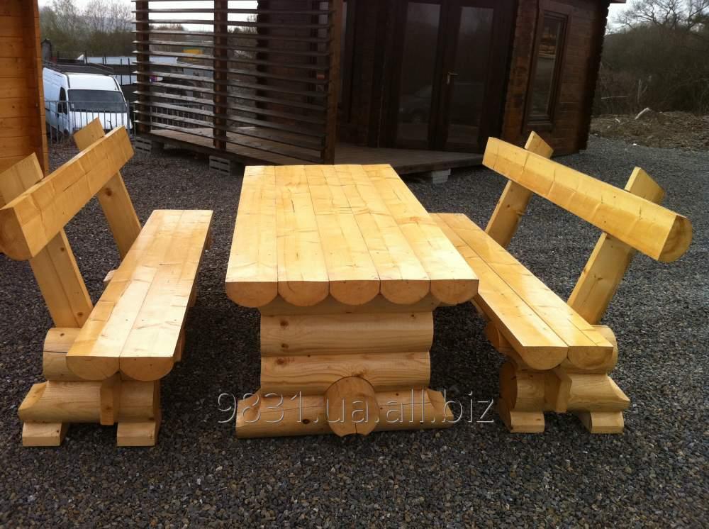 Садовая мебель из массивного цилиндрического дерева